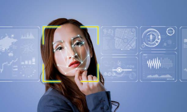 facial recognition system concept. - going inside eye imagens e fotografias de stock