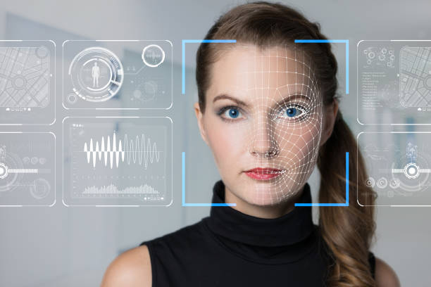 Facial Recognition System concept. Facial Recognition System concept. biometrics stock pictures, royalty-free photos & images
