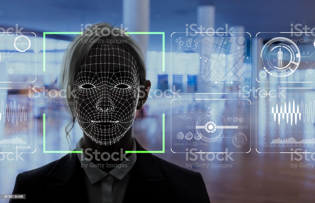 Facial Recognition System concept. - Royalty-free Achievement Stock Photo