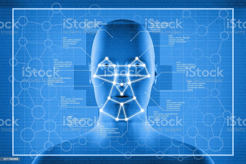 Facial recognition system display stock photo