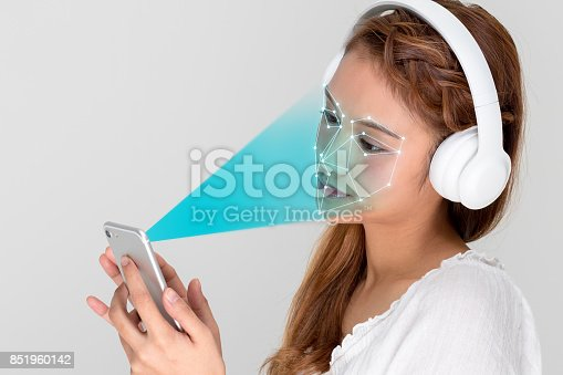 istock Facial Recognition System of smart phone. Biometrics concept. 851960142