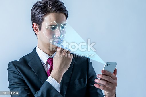 istock Facial Recognition System of smart phone. Biometrics concept. 851960234