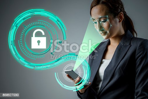 851960260 istock photo Facial Recognition System of smart phone. Biometrics concept. 858527030