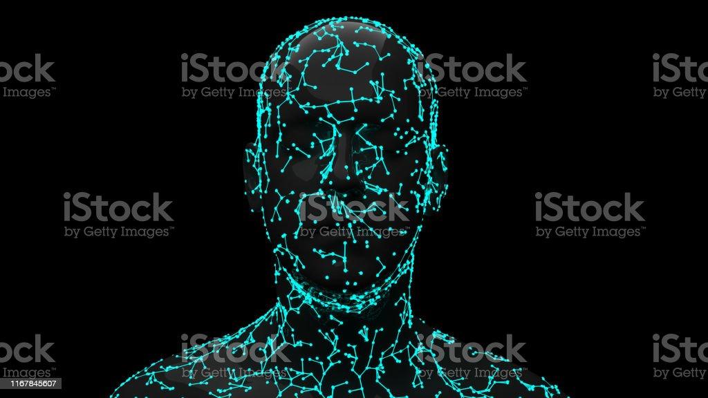 Facial Recognition System Facial Recognition System 3D Scanning Stock Photo