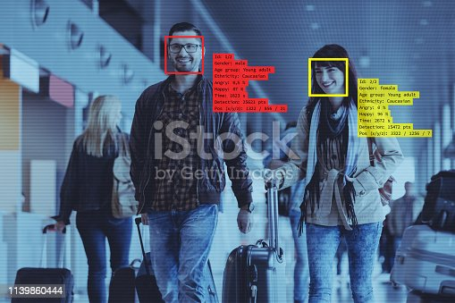 Facial Recognition System at the Airport. People carrying luggage.