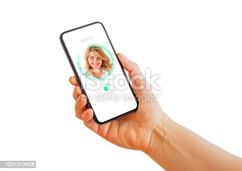 istock Facial recognition technology on mobile phone. 1031313428