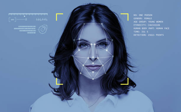 Facial Recognition Technology Facial Recognition System, Concept Images. Portrait of young woman. biometrics stock pictures, royalty-free photos & images