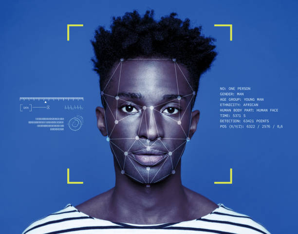 Facial Recognition Technology Facial Recognition System, Concept Images. Portrait of young man. biometrics stock pictures, royalty-free photos & images