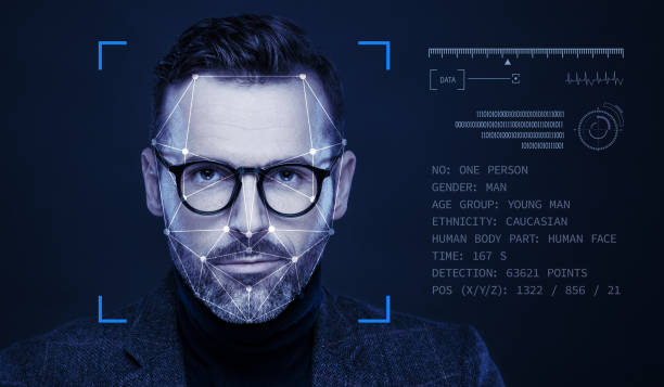 Facial Recognition Technology Facial Recognition System, Concept Images. Portrait of man. biometrics stock pictures, royalty-free photos & images