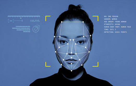 Facial Recognition System, Concept Images. Portrait of young East Asian woman.