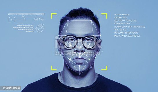 Facial Recognition System, Concept Images. Portrait of young east asian man.