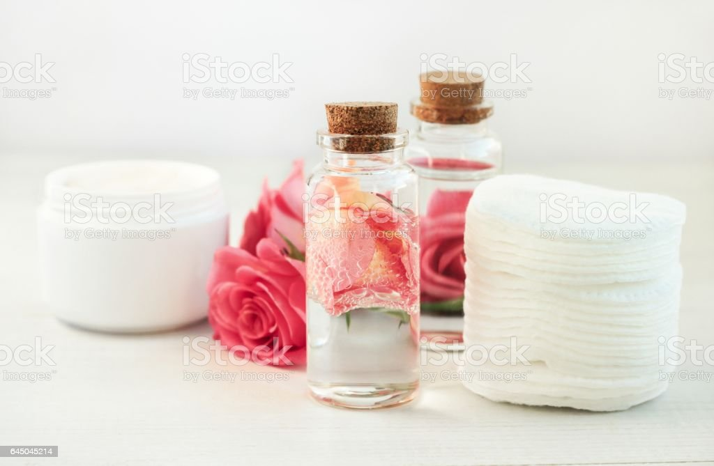 Facial rose extract facial lotion. stock photo