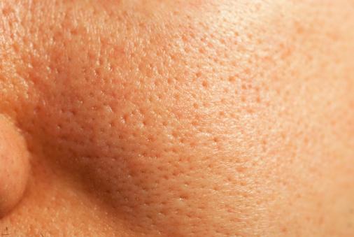 Close-up of human facial pores