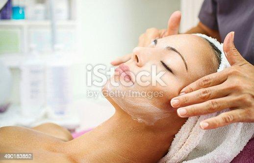 istock Facial treatment at beauty salon. 490183852