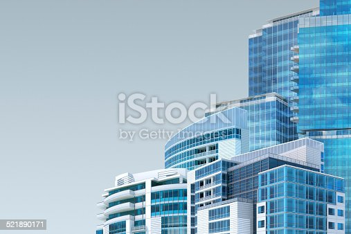 istock Facility management background with office buildings, copy space 521890171