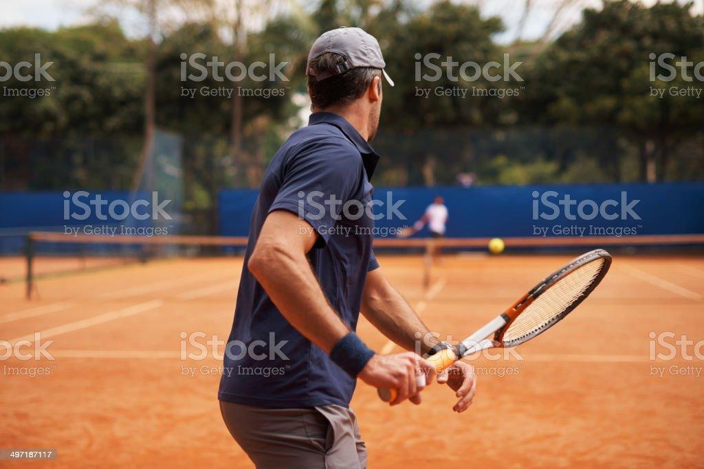 Facing a great tennis rival royalty-free stock photo