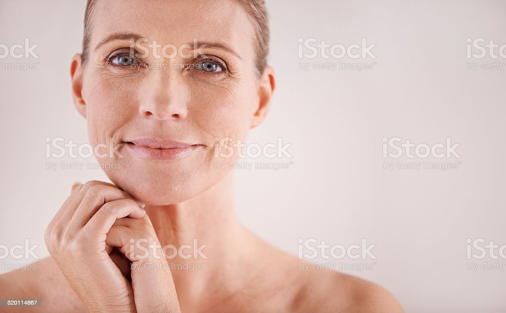 Facing age with a carefree attitude stock photo