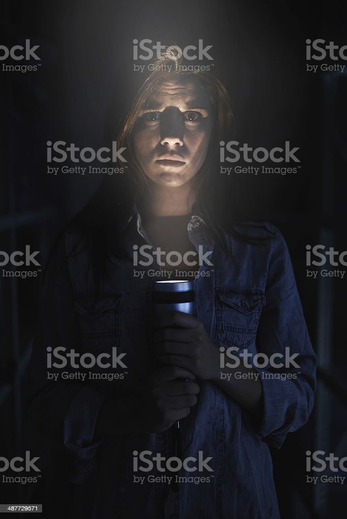 Facing her fears stock photo