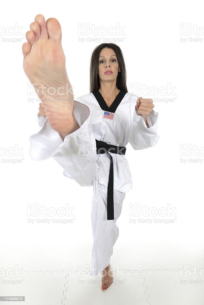 Facing the front kick stock photo