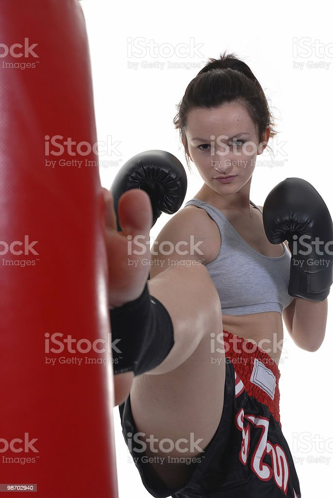 Facing the heavy bag royalty-free stock photo