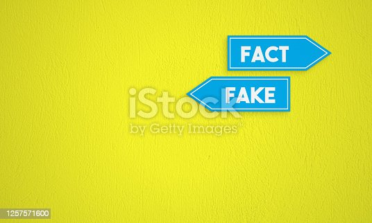 Fact and Fake Directional Sign On The Yellow Wall Background. Horizontal composition with copy space.