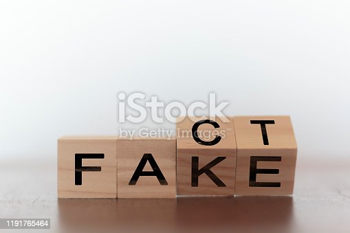 Fact and fake on words on wooden cubes