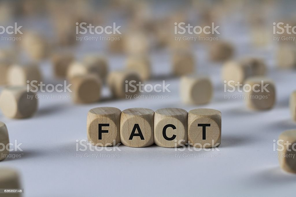 fact - cube with letters, sign with wooden cubes stock photo