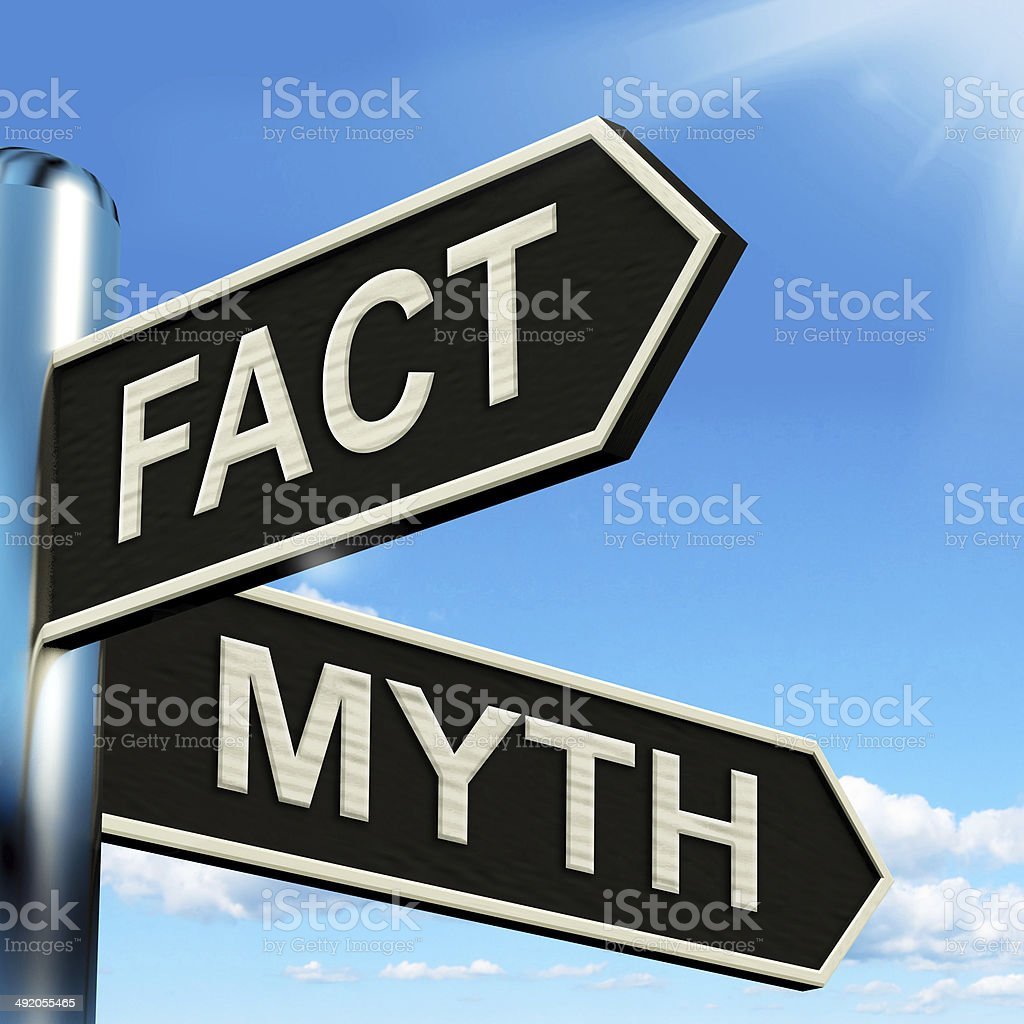 Fact Myth Signpost Means Correct Or Incorrect Information stock photo