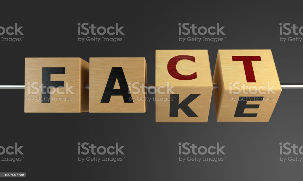 Fact or Fake Concept With Wooden Cubes foto stock royalty-free