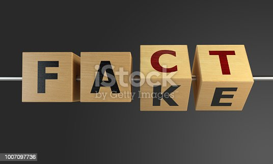 Fake changing to fact with wooden cubes. ( 3d render )