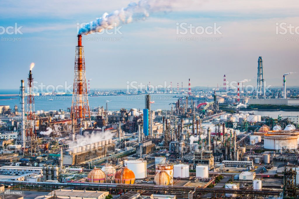 Factories in Yokkaichi, Japan. stock photo