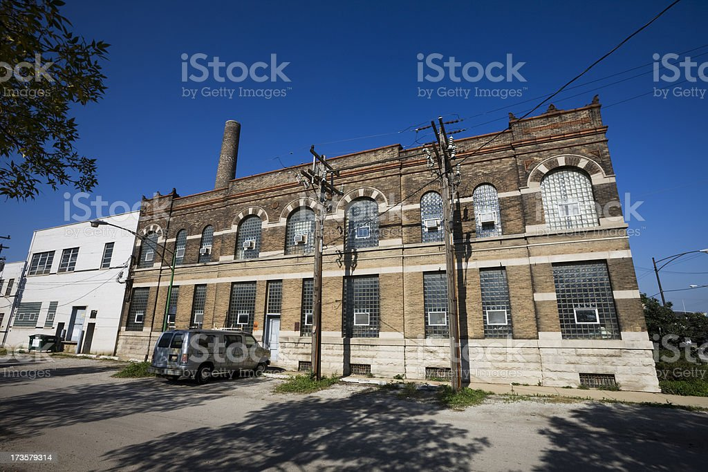Factory and Beat up Van royalty-free stock photo