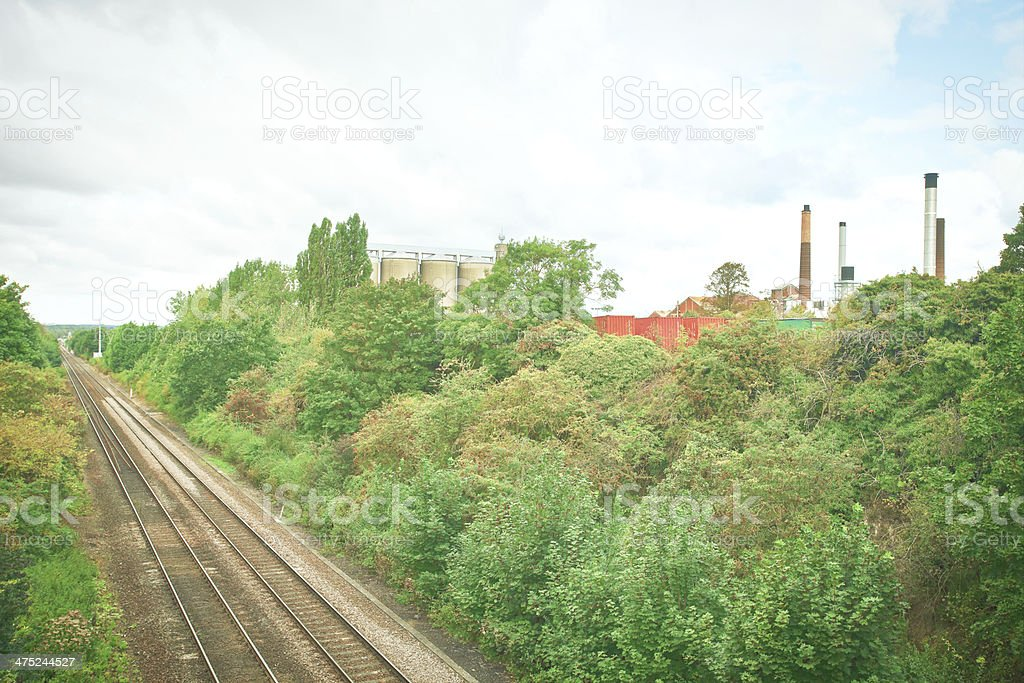 Factory and trainlines stock photo