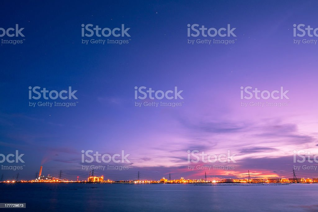 Factory and twilight royalty-free stock photo