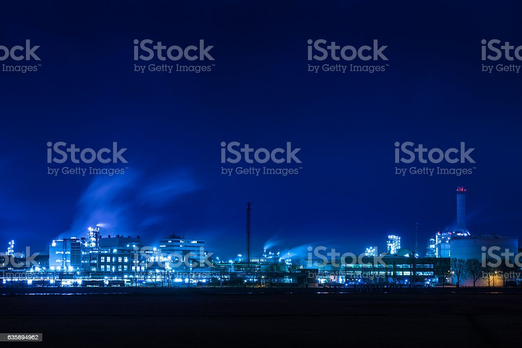 factory at night stock photo