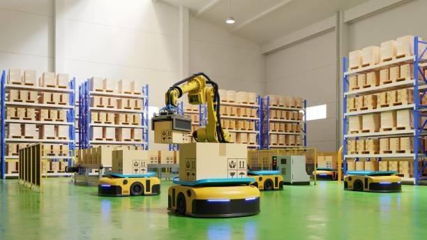 automatización de fábrica con agv y brazo robótico en transporte para aumentar el transporte más con seguridad. - robótica fotografías e imágenes de stock