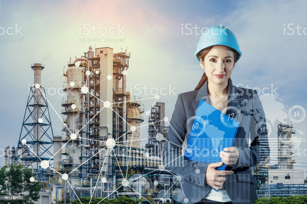 factory building and woman engineer. smart factory. stock photo