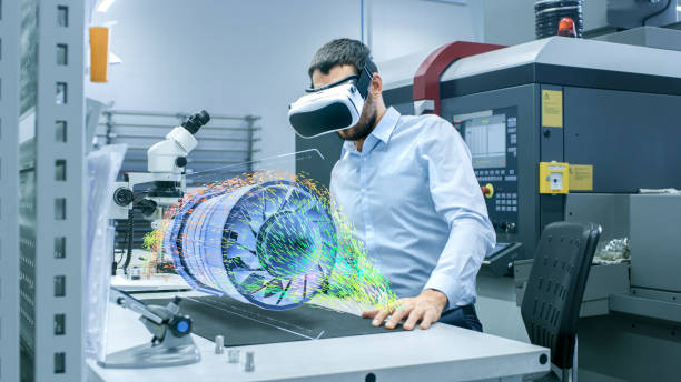 factory chief engineer wearing vr headset designs engine turbine on the holographic projection table.  futuristic design of virtual mixed reality application. - augmented reality stock photos and pictures