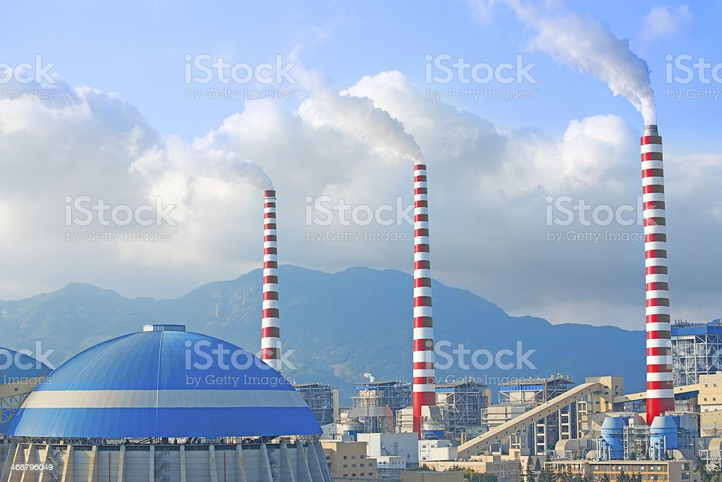 Factory Chimney Emitting Smoke royalty-free stock photo