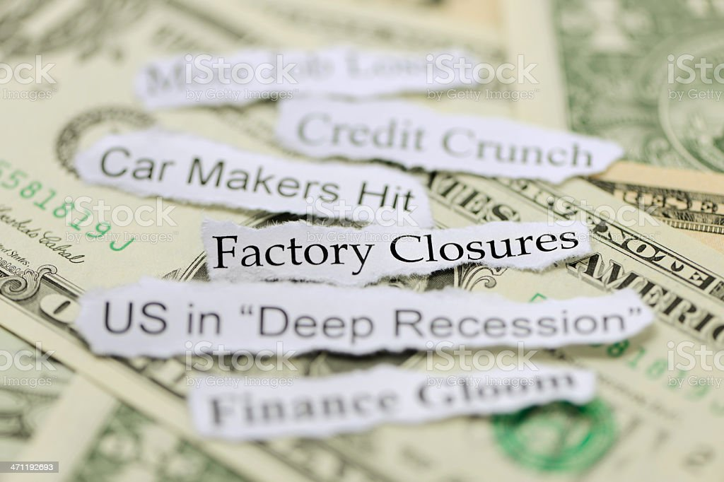 Factory closures and US recession royalty-free stock photo