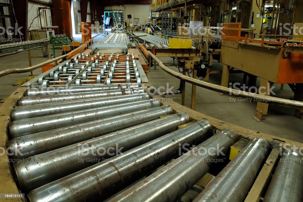 Factory conveyor belt system in gray stock photo