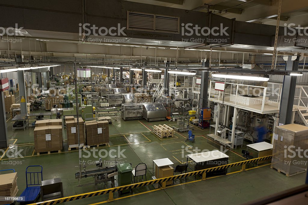 Factory Conveyor Food Packaging stock photo
