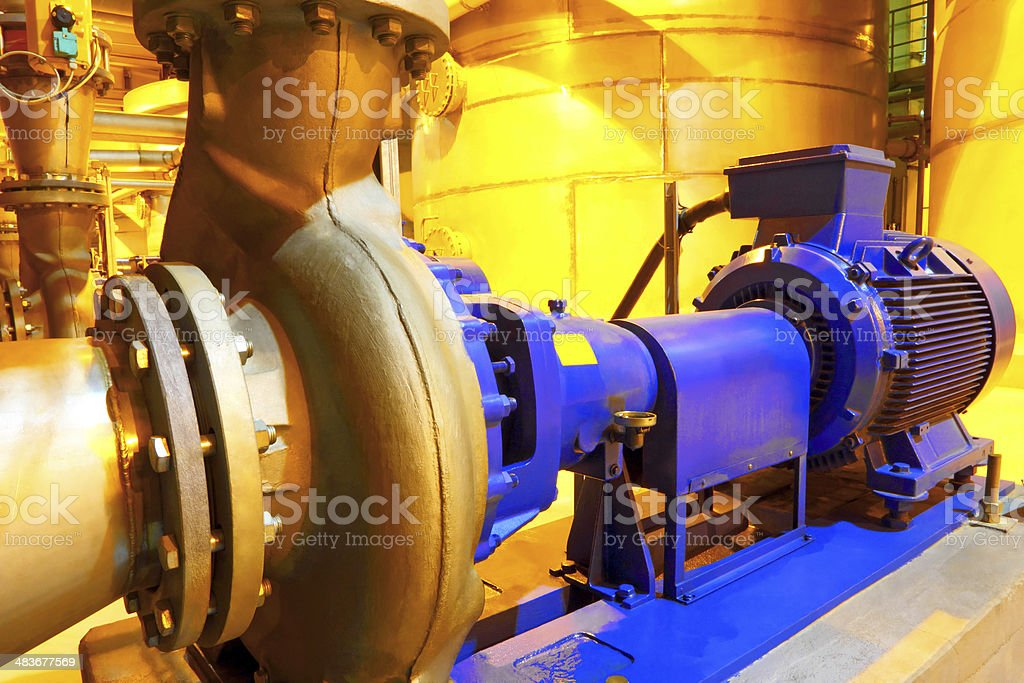 Factory equipment Electric motor of pumps stock photo