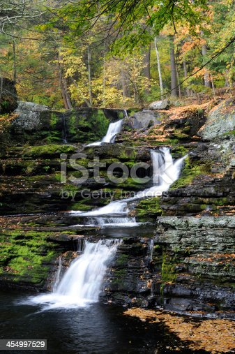 Factory Falls at George W Childs Recreation Site in Delaware Water Gap National Recreation Area in Autumn, Pennsylvania, USA