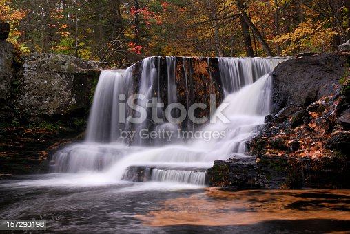Factory Falls at Child Park of Delaware Water Gap National Recreation Area in mid-autumn