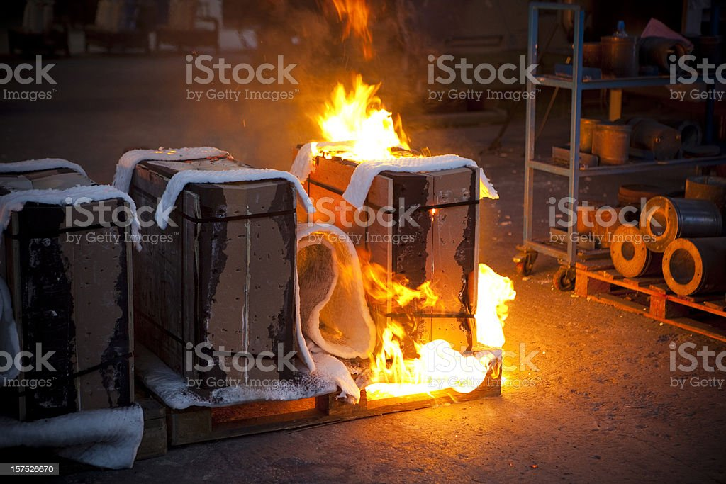 Factory fire stock photo