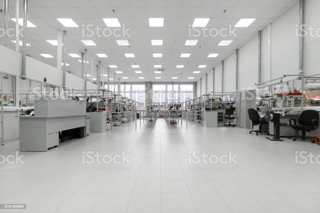 Factory for the manufacture of electronic printed circuit boards. Workshop surface mounting and pre-assembly stock photo