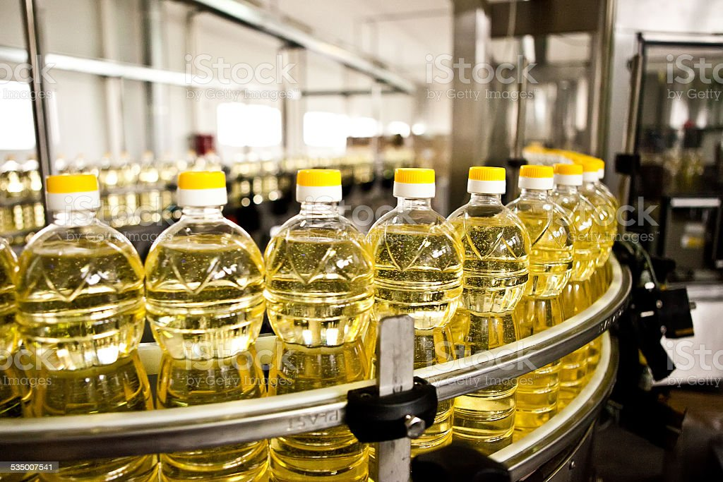 Factory for the production of edible oils. Shallow DOFF stock photo