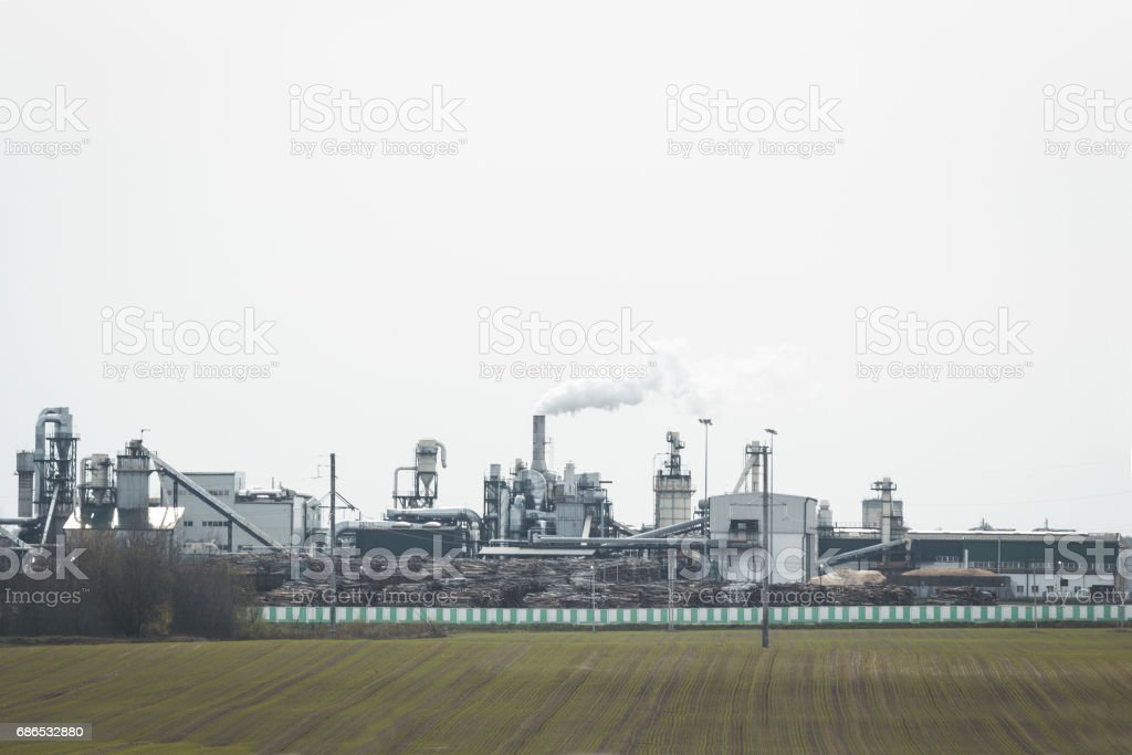 Factory for the production of materials for furniture and construction industry foto stock royalty-free