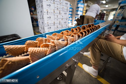 Factory for the production of waffle cups for ice cream